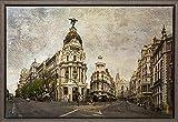 TEXFOTO Cuadro Enmarcado - Calle Gran Vía de Madrid, Calle Alcalá y Edificio Metrópolis de...