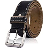 Mens Genuine Leather Full Grain Stitched Buckle Casual Belt for Trousers Jeans
