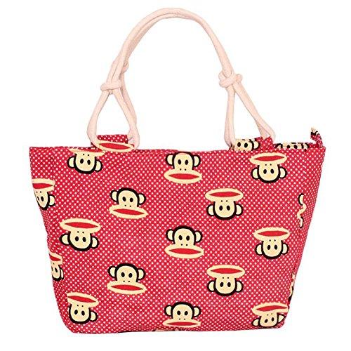 Fortunings JDS® Strisce rosse di tela alla moda borsa stampato il sacchetto della signora dellufficio sacchetto rosso, stile scimmia