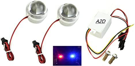 A2D Bike RED n Blue Strobe Flashing Police Lights Flashing Brake Light Set of 2-Suzuki Slingshot Plus