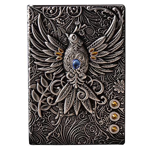 agebuch Home Retro geprägt Phoenix Schule Hardcover Schreibblock Tagebuch PU Cover Reise Handwerk Geschenk, Silber, Free Size ()