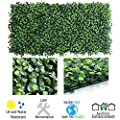 """Petgrow Realistic & Thick Artificial Hedge Boxwood Fence Privacy Screen Panels 20""""x20"""", UV Protection Fresh Faux Foliage Backdrop Wall Decor for Indoor Outdoor"""