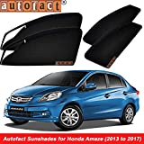 #7: Autofact Magnetic Window Sunshades/Curtains for Honda Amaze [Set of 4pc - Front 2pc With Zipper ; Rear 2pc Without Zipper] (Black)