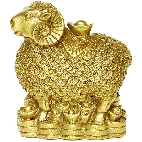 Messing Schaf Ziege mit Münzen Figuren handgemachte chinesische Dekoration Geschenk Sammlerstück BS038 (Gold Münzen Sammlerstück)
