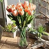 """Flores artificiales, ramo de flores artificiales de seda de 19,9"""" Tulip Real Touch para novia, ramo de boda para el hogar, jardín, fiesta, decoración floral, 5 unidades (Sandía rosa)"""