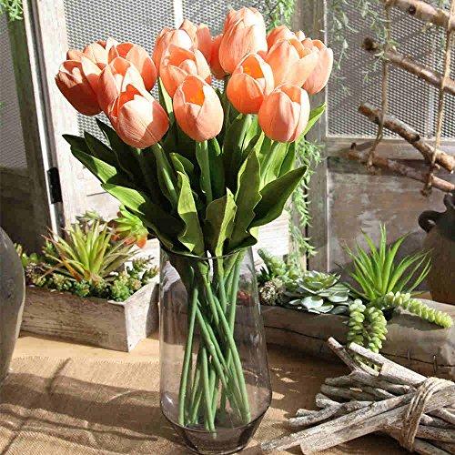 Fiori artificiali, bouquet di fiori finti in seta Tulip Real touch bridal wedding bouquet for home Garden party Floral Decor Pink Tulip 5PC