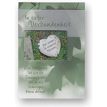 Trauerkarte Beileidskarte zum Kondolieren mit wei/ßen Briefumschlag Kondolenzkarte