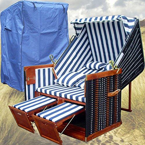 Strandkorb Nordsee XL Volllieger Sylt - XY-01 - blau-weiß gestreift, schwarzes Polyrattan - 118cm breit - inkl. 2 Klapptische - inkl. 4 Kissen - inkl. Strandkorbschutzhülle XINRO®