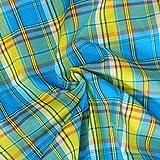 designers-factory Tissu Madras 100% Coton Turquoise, Jaune, Rouge - Coupon à la Mesure - Coton Madras (50cm x 1m60)
