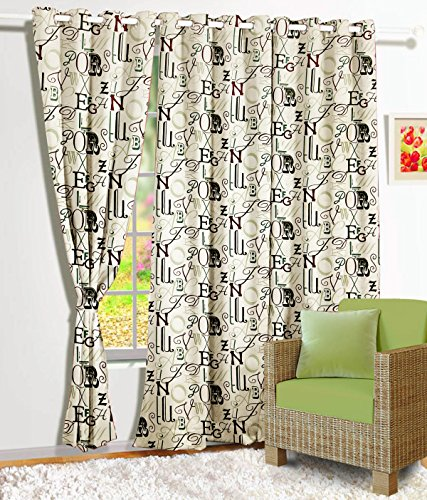 Story@Home Retro Contemporary Premium Satin Window Curtain - 5ft, Brown
