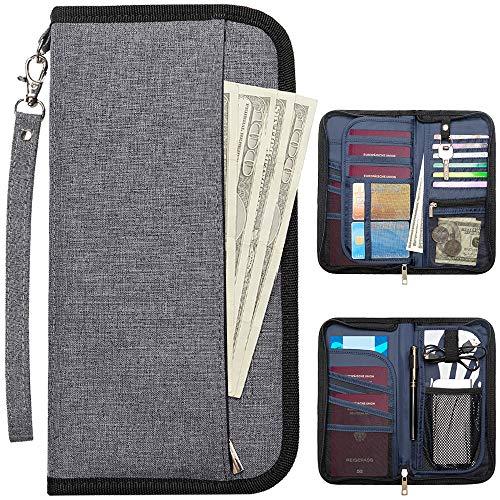 takyu Portafoglio da viaggio, RFID Blocking Family Passport Holder per Donna Uomo, Travel Document Organizer per Smartphone/Cards/Tickets/Money/key (Grigio)
