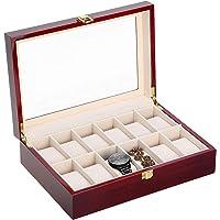 Boîte à bijoux pour 6 ou 12 montres en bois pour homme avec affichage en verre