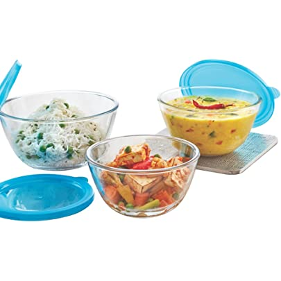 Borosil   Glass Mixing Bowl with Blue lid   Set of 3  500 ML + 900 ML + 1.3L  Oven and Microwave Safe