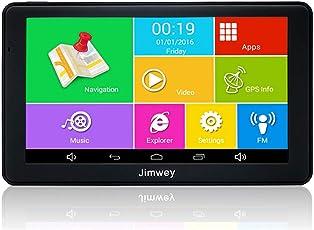 Jimwey GPS Navi Navigation für Auto LKW PKW KFZ 7 Zoll Bluetooth Android 16GB 512MB Lebenslang Kostenloses Kartenupdate Kapazitiver Touchscreen, Navigationsgerät mit POI Blitzerwarnung Sprachführung Fahrspurassistent 2018 EU UK 48 Karten für Europa