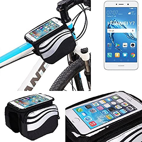 For Huawei Y7: Cycling Frame Bag, Head Tube Bag, Front Top Tube Frame Pannier Double Bag Pouch Holder Crossbar Bag, black-silver water resistant -