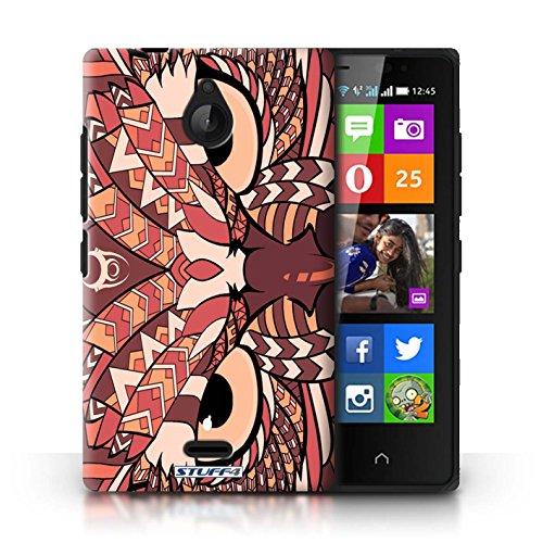 Kobalt® Imprimé Etui / Coque pour Nokia X2 Dual Sim / Loup-Mono conception / Série Motif Animaux Aztec Hibou-Rouge