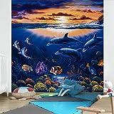 Vliestapete–Delfine Welt–Wandbild quadratisch
