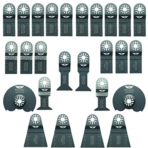 26 x TopsTools UNKA26A Mix Klingen für Bosch, Fein Multimaster, Multitalent, Makita, Milwaukee, Einhell, Ergotools, Hitachi, Parkside, Ryobi, Worx, Workzone Multitool Multi Tool Multifunktionswerkzeug Oszillierwerkzeug Zubehör