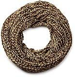 styleBREAKER bufanda del tubo de lazo grueso de dos tonos, bufanda tejida, calidad suave, unisex 01018130, color:Marrón oscuro-Marrón claro