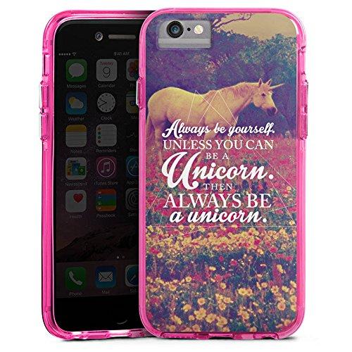 Apple iPhone 7 Plus Bumper Hülle Bumper Case Glitzer Hülle Einhorn Unicorn Phrases Bumper Case transparent pink