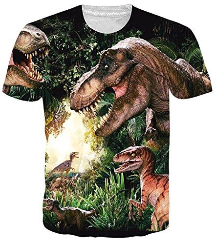 Idgretim Teenagers 3D Print Muster Dinosaurier regelmäßige Passform Casual Top ()