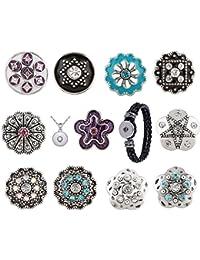 Morella Damen Click-Button Zirkonia Set 11 Druckknöpfe mit Halskette Edelstahl 70 cm und Armband