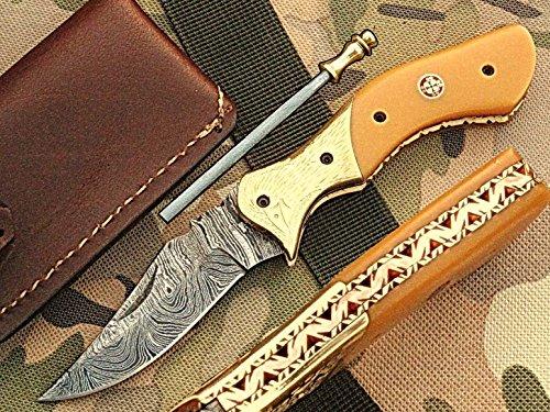faite à la main 18 cm Awesome couteau de poche pliant des véritables Acier de Damas avec manche G10 Matière Mitres et gravée : (Bdm-95) (Legal au transport)