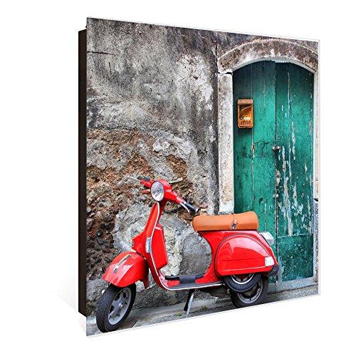banjado Großer Schlüsselkasten aus Glas | Schlüsselbox mit 50 Haken | beschreibbare Glastür Scharnier Rechts | als Magnettafel nutzbar | Schlüsselaufbewahrung 30cm x 30cm | Motiv Italienischer Roller