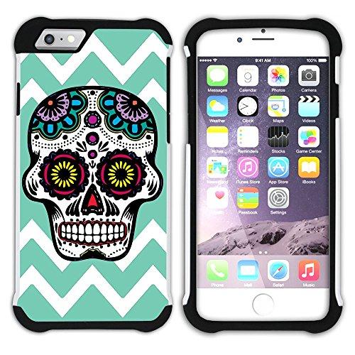 Graphic4You Mexikanische Zuckerschädel Tod Winkel Muster (Orange) Hart + Weiche Kratzfeste Hülle Case Schale Tasche Schutzhülle für Apple iPhone 6 Plus / 6S Plus Wasserblau