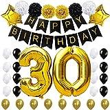 """KUNGYO 30 Buon Compleanno Decorazioni Kit -Happy Birthday Bandiera Nero, 100CM Grande Pallone 30"""" d'oro, Fiori di Carta, Palloncini di Stelle e Lattice, Forniture per Feste di Alta Gualità"""