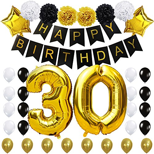 KUNGYO 30 Decoración para Fiestas de Cumpleaños- Happy Birthday Pancarta Negro, 40 Pulgadas Globo de Oro 30', Flores de Papel, Globos de Estrellas y Látex, Fuentes de Fiesta con Clase para 30 años