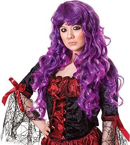 Damen Kostüm Halloween Party Cheryl Lockig Lang Falsch & Künstliches Perücke - Lila, (Kostüm Halloween Cheryl)