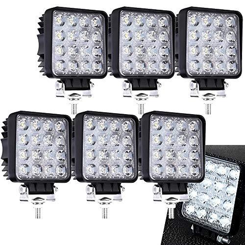 6 X 48W Quadrat LED Offroad Flutlicht Reflektor Scheinwerfer Arbeitslicht SUV, UTV, ATV Arbeitsscheinwerfer Zusatzscheinwerfer 12V 24V Rückfahrscheinwerfer -