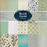 WSD Warenhandel Scrapbooking Papier Vintage Motivblock (Glanz #10 Blue Oase) Bastelpapier 230gr/qm - 2 x 15 Motive (1 x glänzend, 1 x Matt)