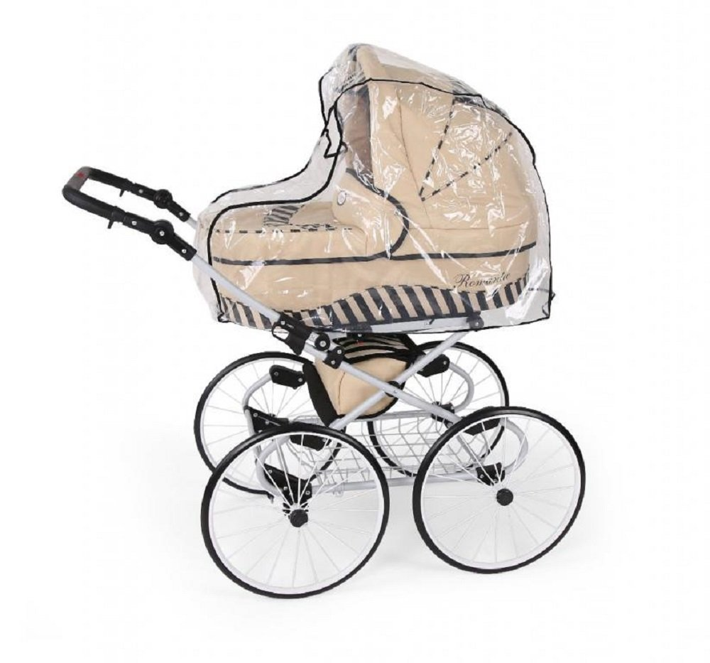 Hogartrend Romantic 17-Inch Wheel Baby Pram - 3 Piece Complete Set hogartrend A retro, classic and elegant style pram with all modern features. The kit includes:-chassis – large white 17-inch rubber wheels without air. - Carriage (canopy and cover)- Buggy (canopy and cover)- Pram (car seat with canopy and cover). 6