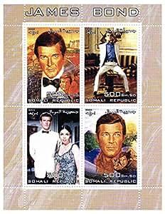 James Bond 007 timbres pour les collectionneurs - Roger Moore - 4 timbres superbes - Idéal pour la philatélie - Timbres neufs sans
