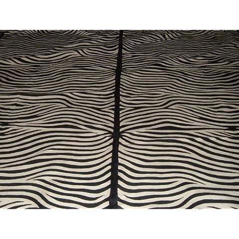 Crewel Rug Zebra Black Chain Stitched Wool