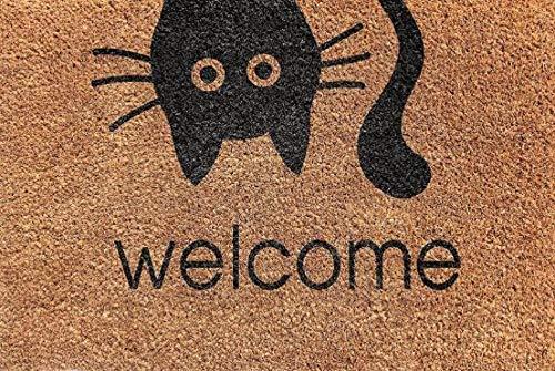 Cranberry Mats Designer Natürliche Kokosfaser Rutschfeste Fußmatte für Terrasse, Haustür, Alle Wetter Außen Türen-16x 24-Cat Face Welcome