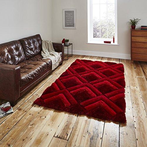 Moderne 3D-Design Handgetuftet Shaggy Criss Kreuz Muster Rot Farbe Teppich in 2verschiedenen Größen, rot, 120 x 170 cm (Pflaume Zeitgenössische Teppich)