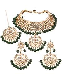 I Jewels Traditional Kundan & Pearl Choker Necklace Set for Women (K7058G)