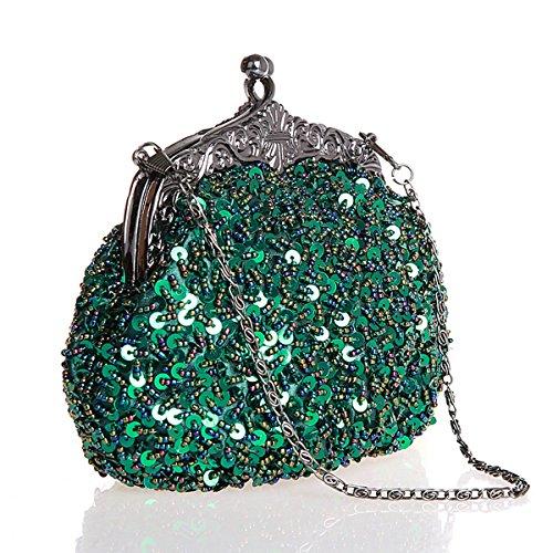 Flada Girls und Womens Handtaschen Handtasche Handmade Beaded Abend Clutches PROM Wedding Party Green Green