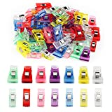 ipow 100 pcs Pinces de Couture Multicolores en Plastique (70M+30S) Clips Pinces pour Matelassage/Couture/Patchwork/Artisanat - Faire Les Ourlets/Assembler Les Tissus, 27 * 10 mm / 33 * 18 mm