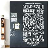 Grandora Wandtattoo Spruch Familienregeln I schwarz (BxH) 58 x 120 cm I Regel Familie Wohnzimmer Flur Sticker Aufkleber Wandaufkleber Wandsticker W5498