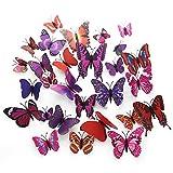 GKONGU Schmetterlinge Wanddekoration, 36 Stück 3D Schmetterlinge Wanddeko Aufkleber Abziehbilder,Wasserdicht Wand Aufkleber-Magnet/Aufkleber