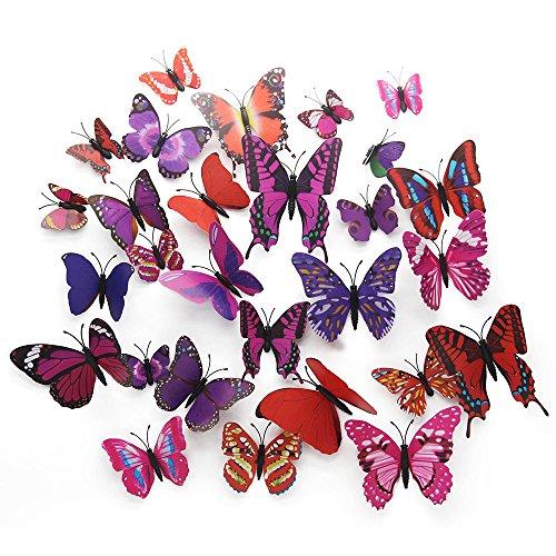 Schmetterlinge Wanddekoration,GKONGU 36 Stück 3D Schmetterlinge Wanddeko Aufkleber Abziehbilder,Wasserdicht Wand Aufkleber-Magnet/Aufkleber