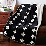 BDUK La lana di agnello composito di velluto coperta di cotone e coperte di flanella doppia spessa coltre di coperte lettiera coperta del veicolo