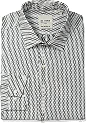 Ben Sherman Mens Skinny Fit Floral Dobby Spread Collar Dress Shirt, Black/White, 16.5 Neck 34-35 Sleeve