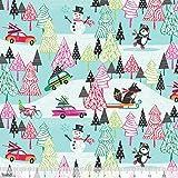 Weihnachten Stoff–Autos Schneemänner Füchse grau