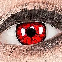 Meralens 1 Paar farbige rote schwarze Crazy Fun Metatron Jahres Kontaktlinsen.Topqualität zu Fasching und Karneval mit gratis Kontaktlinsenbehälter ohne Stärke
