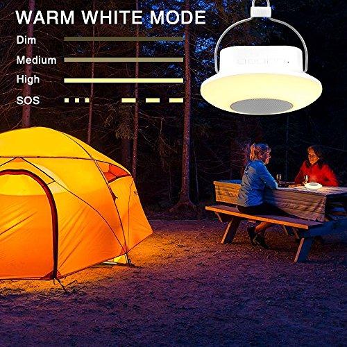 Preisvergleich Produktbild ELINKUME® Multifunktionale LED RGB Camping Laterne,  Drahtloser Bluetooth Lautsprecher Lampe,  USB Nachladbare Noten-Lampe mit Colorful Nachtlicht,  3 Helligkeit Justierbar,  Unterstützungs-TF-Karten-Modus und FM Modus,  Ideal für Camping Ausrüstung (Weiß)
